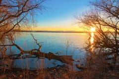 Zonsondergang over Barr Lake Royalty-vrije Stock Foto's