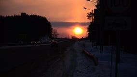 Zonsondergang over beste de winter stock videobeelden