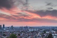 Zonsondergang over Brussel Stock Foto