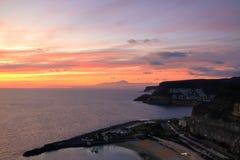 Zonsondergang over Canarische Eilanden, mening van Gran Canaria de vulkaan aan van Tenerife, Gr Teide, Spanje royalty-vrije stock fotografie