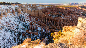 Zonsondergang over canionhellingen in sneeuw, Bryce Canyon National worden behandeld dat Royalty-vrije Stock Fotografie