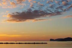Zonsondergang over Capo Caccia Royalty-vrije Stock Foto