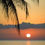 Zonsondergang over Caraïbische Zee Stock Fotografie