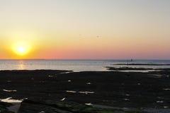 Zonsondergang over de Atlantische Oceaan op Guerande-Schiereiland Royalty-vrije Stock Fotografie