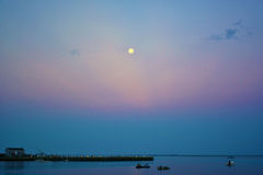 Zonsondergang over de baai Royalty-vrije Stock Afbeelding