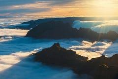 Zonsondergang over de bergen, Madera Stock Fotografie