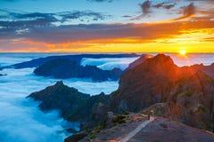 Zonsondergang over de bergen, Madera Royalty-vrije Stock Fotografie