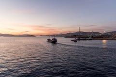 Zonsondergang over de Containerhaven van Piraeus haven Royalty-vrije Stock Afbeelding