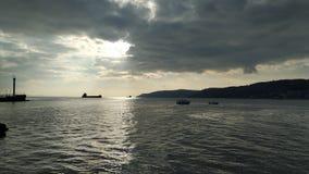 Zonsondergang over de Dardanellen stock fotografie