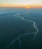 Zonsondergang over de Kafue-rivier Royalty-vrije Stock Afbeeldingen