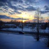 Zonsondergang over de Landelijke Stad van Ohio Royalty-vrije Stock Foto's