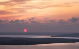 Zonsondergang over de meren Opuk Royalty-vrije Stock Foto
