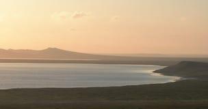 Zonsondergang over de meren Opuk Royalty-vrije Stock Foto's
