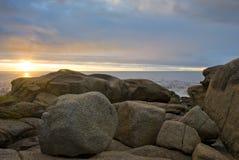 Zonsondergang over de oceaan Royalty-vrije Stock Afbeelding