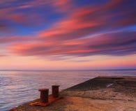 Zonsondergang over de oceaan Stock Afbeelding