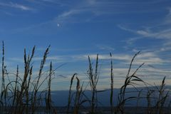 Zonsondergang over de oceaaninham van Atlantaic royalty-vrije stock foto's