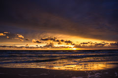 Zonsondergang over de Oostzee Stock Foto