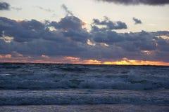 Zonsondergang over de Oostzee Stock Afbeelding