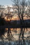 Zonsondergang over de rivier - portret Stock Afbeeldingen