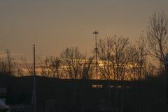 Zonsondergang over de Rivier van Ohio royalty-vrije stock afbeeldingen