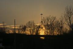 Zonsondergang over de Rivier van Ohio stock foto's