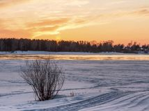 Zonsondergang over de snow-covered kust van Ob stock fotografie