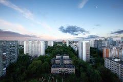 Zonsondergang over de stad Moskou Rusland Royalty-vrije Stock Afbeelding