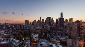 Zonsondergang over de Stad van New York stock footage