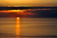 Zonsondergang over de Zwarte Zee, Sotchi Royalty-vrije Stock Foto
