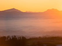 Zonsondergang over de Zwitserse Alpen Royalty-vrije Stock Fotografie