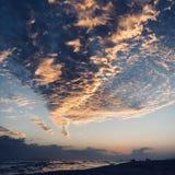 Zonsondergang over Destin-strand stock afbeelding