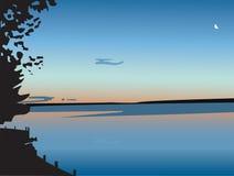 Zonsondergang over een meer, in vector Vector Illustratie