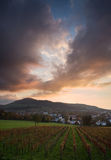 Zonsondergang over Freiburg, Duitsland royalty-vrije stock foto's