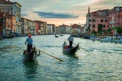 Zonsondergang over Grand Canal in Venetië royalty-vrije stock foto's