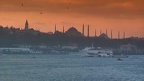Zonsondergang over Hagia Sophia Istanboel stock footage