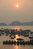 Zonsondergang over haven in Vietnam Stock Foto