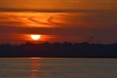 Zonsondergang over Heilige John&#x27 wordt bekeken die; s Rivier Stock Foto