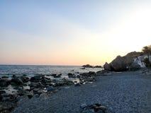 Zonsondergang over het Egeïsche Overzees Griekenland Kreta Stock Afbeelding