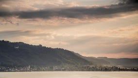 Zonsondergang over het Meer van Konstanz, Duitsland, Tijdtijdspanne stock footage