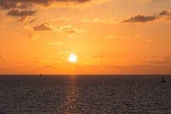 Zonsondergang over het Middellandse-Zeegebied Royalty-vrije Stock Foto's