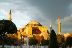 Zonsondergang over het museum van Hagia Sophia Stock Fotografie