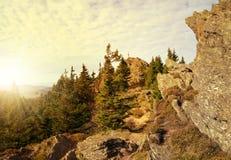 Zonsondergang over het Nationale park Sumava Stock Afbeeldingen