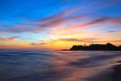 Zonsondergang over het overzees Stock Foto's
