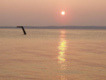 Zonsondergang over het overzees Stock Foto
