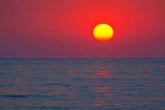 Zonsondergang over het overzees, Griekenland Stock Afbeelding