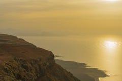Zonsondergang over het overzees in Lanzarote stock foto's
