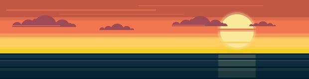 Zonsondergang over het overzees Panorama royalty-vrije illustratie
