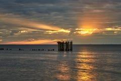 Zonsondergang over het overzees in sammer Stock Afbeeldingen
