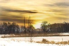 Zonsondergang over het Riese-meer in de winter Royalty-vrije Stock Fotografie