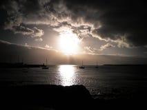 Zonsondergang over jachthaven in Playa-Blanca, Lanzarote Eiland royalty-vrije stock foto